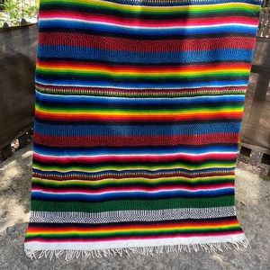 """Vintage Mexican Woven Large Blanket Striped 84x56"""""""